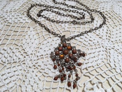 Vintage Pendant on Vintage Chain Cross with Brown Beads Antique Silver Great Condition Sturdy