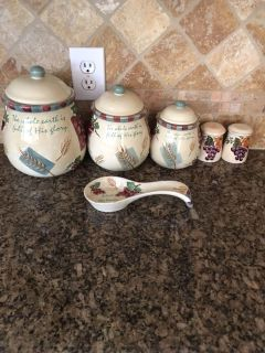 Religious Wheat Canister Set With Spoon Rest and Salt/Pepper Shakers