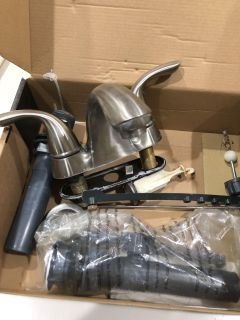Pair of faucets brushed nickel