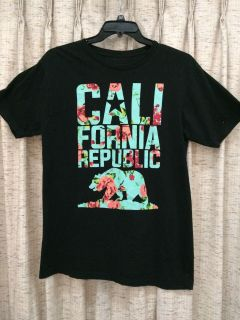 Men s Bowery Supply Co. Black Floral California Republic Graphic Tee