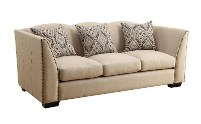 Siana Stationary Sofa with Nail Head Trim and Scalloped Top