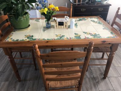 Heavy tile top dining table $345