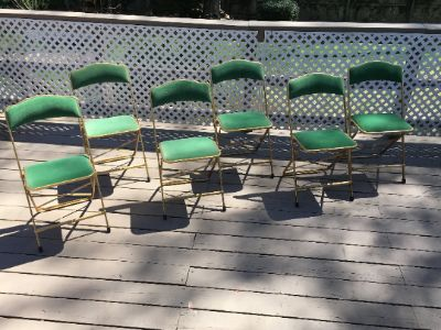 Mid century Emerald green 6 folding chairs set