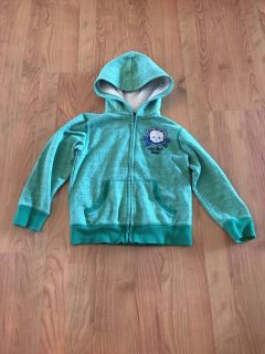 (Medium) Green Hooded Zip Up Sweatshirt (Says Hot Rod Garage & has Skull with wrenches)