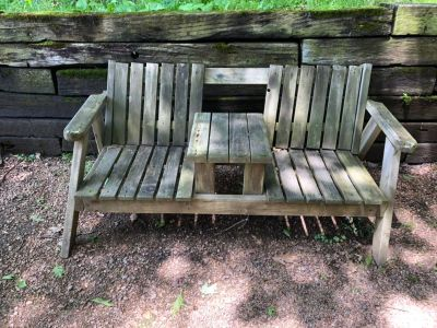 Double wooden bench (In Elcho, WI)