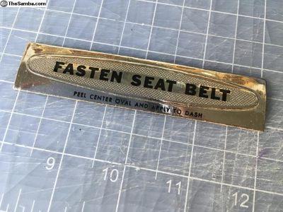 NOS FASTEN SEAT BELT Foil Sticker Dashboard Decal