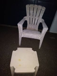 Large Plastic Lawn Chair with Stool