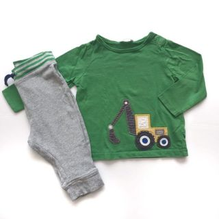 Mini Boden Boys 12-18 M Outfit Set Tractor Backhoe Tee Pants
