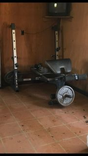 Marcy workout bench with weights