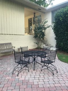 Wrought Iron Table, 4 chairs and seat cushions