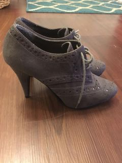 Gray lace-up booties size 6.5