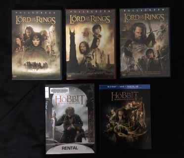 Lord of the Rings Trilogy and Hobbit Movies DVD