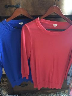 GUC. Woman s j crew thin coral and cobalt 3/4 sleeve sweaters.