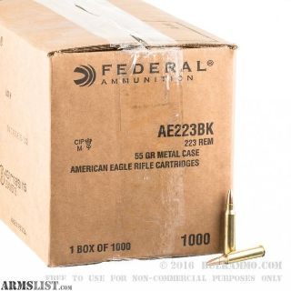 For Sale: AMERICAN EAGLE 223 55 GRAIN FMJBT BULK AMMUNITION - CASE OF 1000