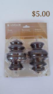 NEW - Levolor Curtain Rod Finials Medalln Solid Wood