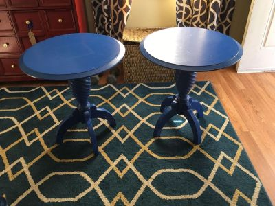 2 solid wood end tables- originally from Ritz Carlton