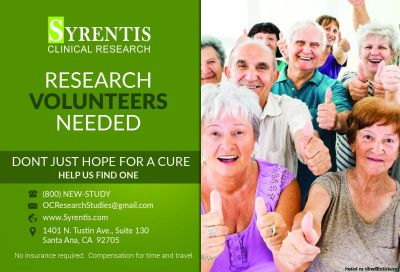 Syrentis Clinical Research needs your help! Volunteer for a clinical study, call today.