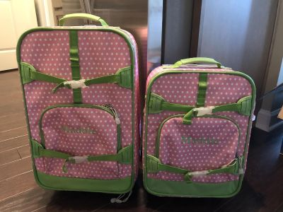 Pottery Barn luggage, used condition, monogrammed with Maddie , $40