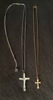 Lot of 2 Vintage Religious Necklaces. Crucifix and Cross With Faux Pearl.