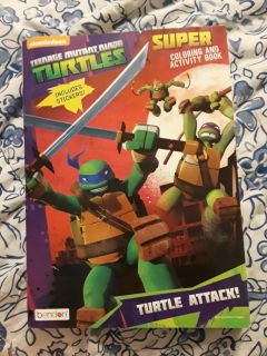 New TMNT ninja turtles coloring book with stickers - 75 pages