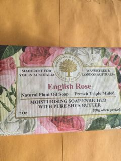 English Rose natural soap made in Australia 7 ounce bar full size and heavy smells just like a rosebush. Number two