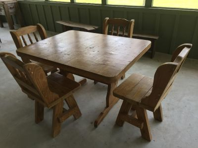Very heavy rustic farmhouse table and 4 chairs-$100 for all-table is 47 x 36 -see 2nd picture for table top