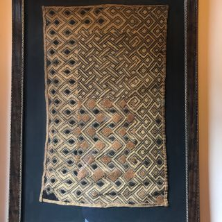 Custom Framed Antique Kuba Cloth Panel