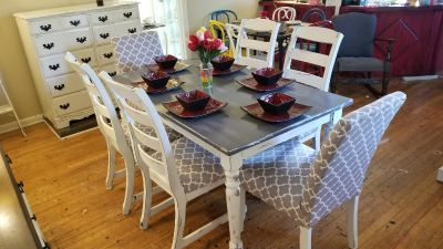 Gray rustic solid wood table with 6 chairs