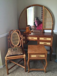 $195, Antique Dask with Chair and night stand