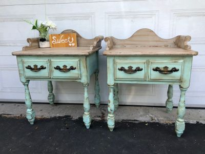 "GORGEOUS Antique 2x Side table/Night Table-25""x29""x18.5""- refinished in turquoise with taupe- Wood-135$ both"