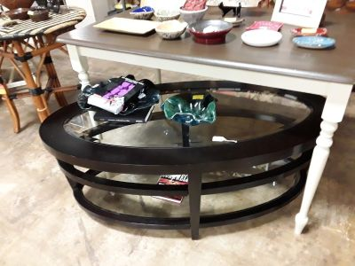 Coffee Table Glass and Wood (Black) @ Brass Bear 2652 Valleydale Rd