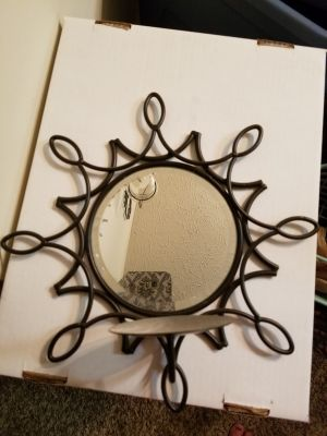 Mirrored Wall Decor With Candle Holder