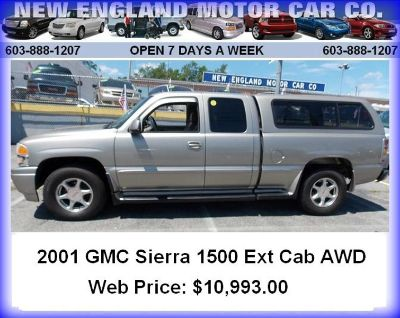 2001 GMC Sierra 1500 Ext Cab all wheel drive pickup truck with cap!
