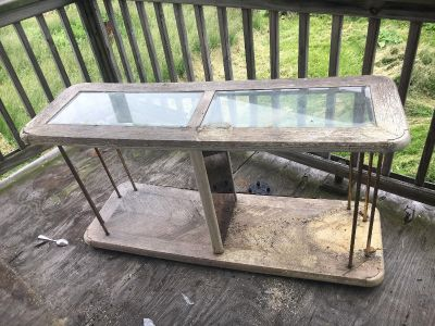 Rustic Glass Top Table - in need of TLC