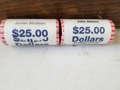 James Madison and John Adams $25 rolls mint in packages