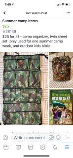 Summer camp organizer, sheet set and bible $24 for all