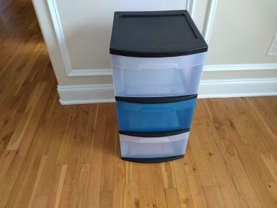 """Three drawer storage unit measures 14 1/2"""" by 12 5/8"""" and 25 5/8"""" tall"""