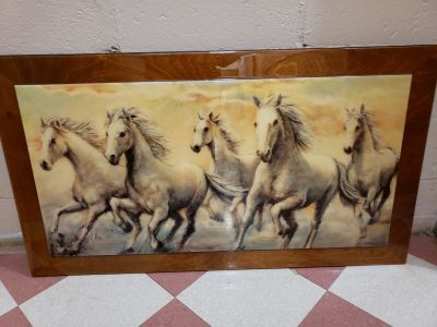 Wild horses painting in lacquer finish