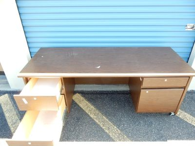 Brown Heavy Duty Desk With Casters