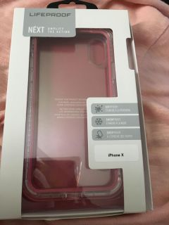 IPHONE X LIFEPROOF NEXT CASE. PINK AND CLEAR