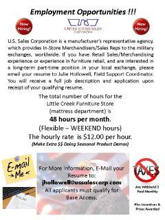 In-Store Mattress Representative Vendor