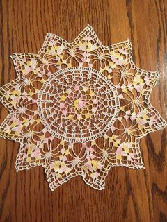 13.5 Delicate Vintage Shell Stitched Doily