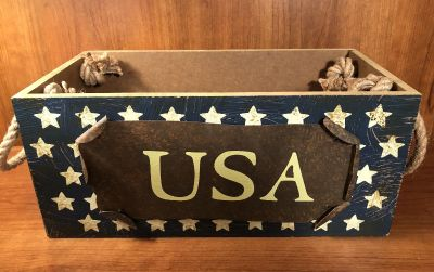 Wood Box with Metal USA & Rope Handles 12 1/2 long x 5 3/4 tall x 6 1/2 wide