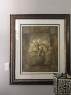 Tulip picture EUC framed behind glass approx 4 ft x 3 ft