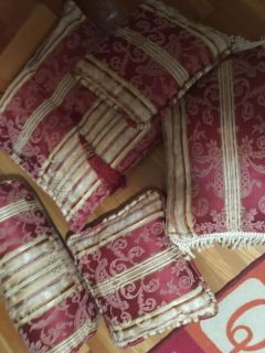 5 red and gold pillows handmade