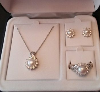 Pearl and white sapphire 3 pc set