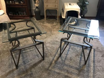 Two beautiful glass top end tables