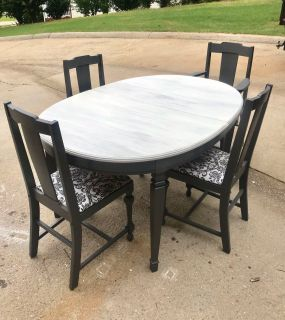 Antique table with 4 chairs