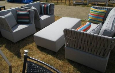 Silver Loveseat, 2 Chairs, Ottoman & Sidetable - Merch Mart Sample