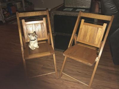 Perfect antique child size folding chairs. $20 each or both for $35